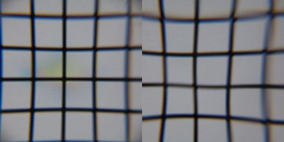 Sicht auf das Display durch kleine Linse (links) und größere Linse (rechts)