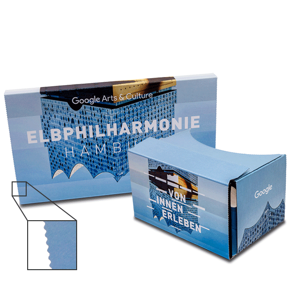branded google cardboard in elbphilharmonie design virtual reality viewer