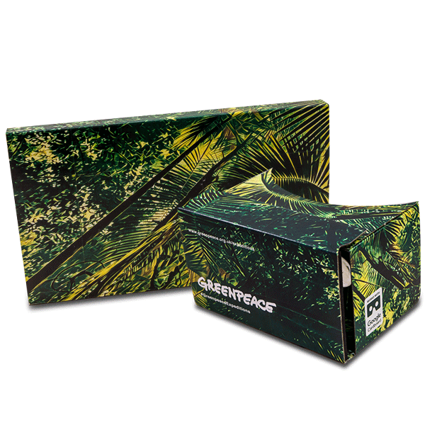 branded google cardboard in green peace design virtual reality viewer