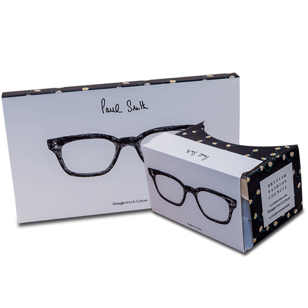 branded google cardboard in paul smith design virtual reality viewer